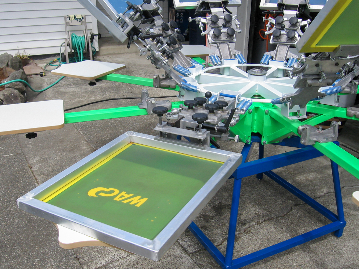 Color press printing -  Riley Hopkins 8 Color 8 Station Screen Printing Press W Micros Joystick