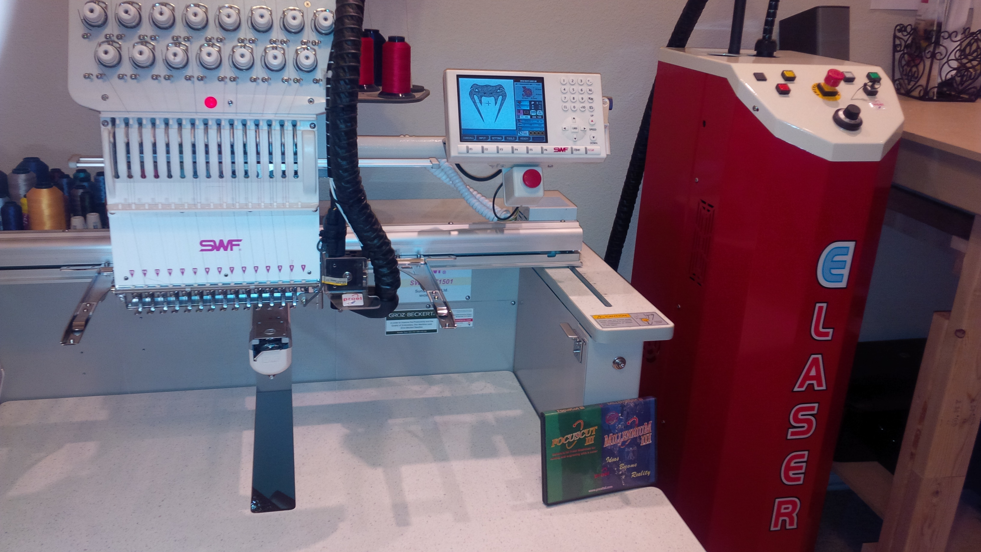 brand new proel elaser embroidery laser cutting system