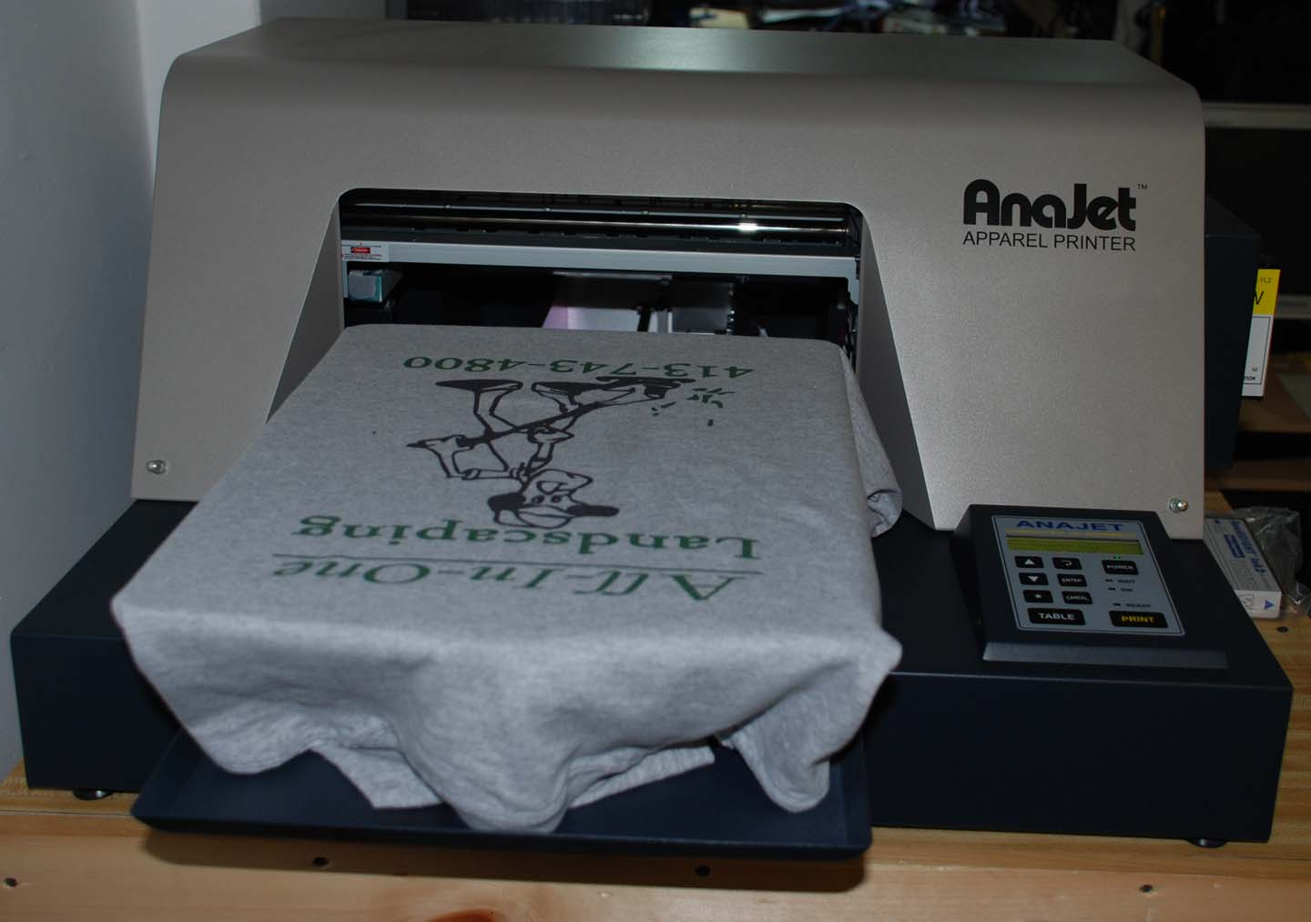 3 Month Old Anajet Printer With George Knight 16x20 Heat Press