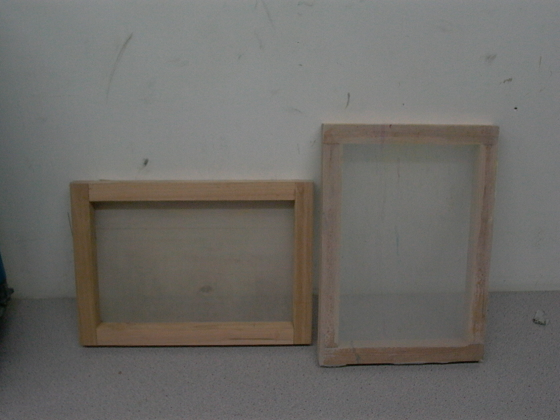 brand new wooden screen printing frames with mesh p1000504jpg