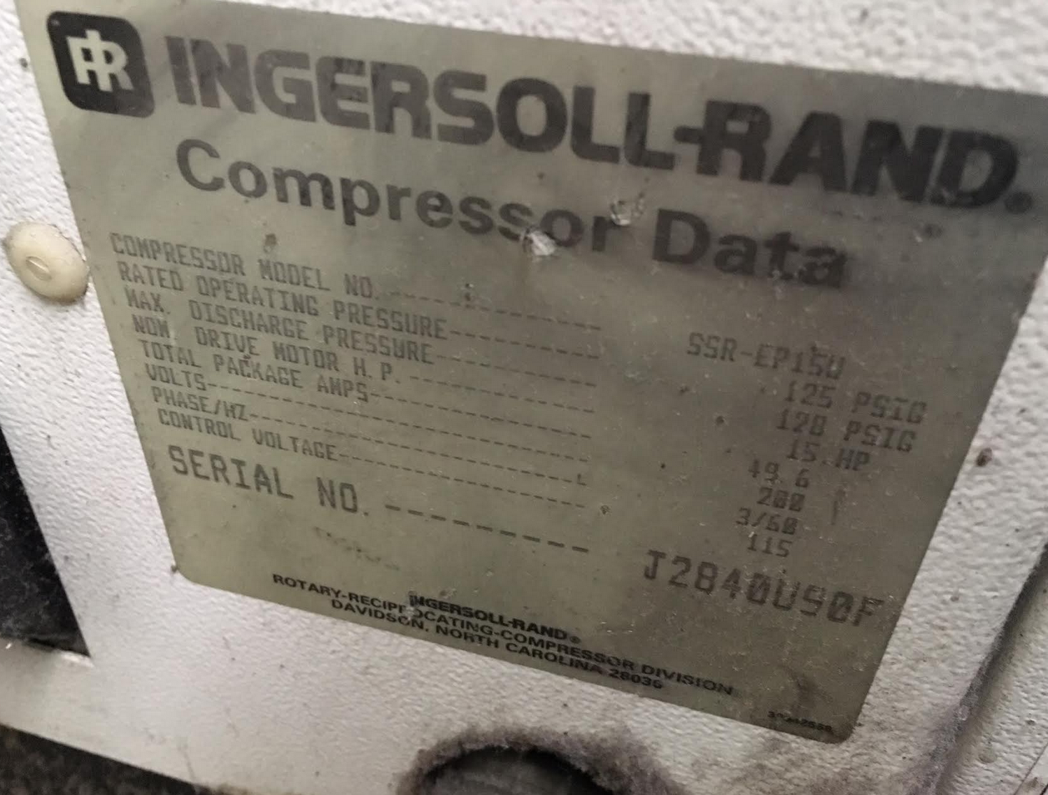 Ingersoll Rand Rotary Compressor