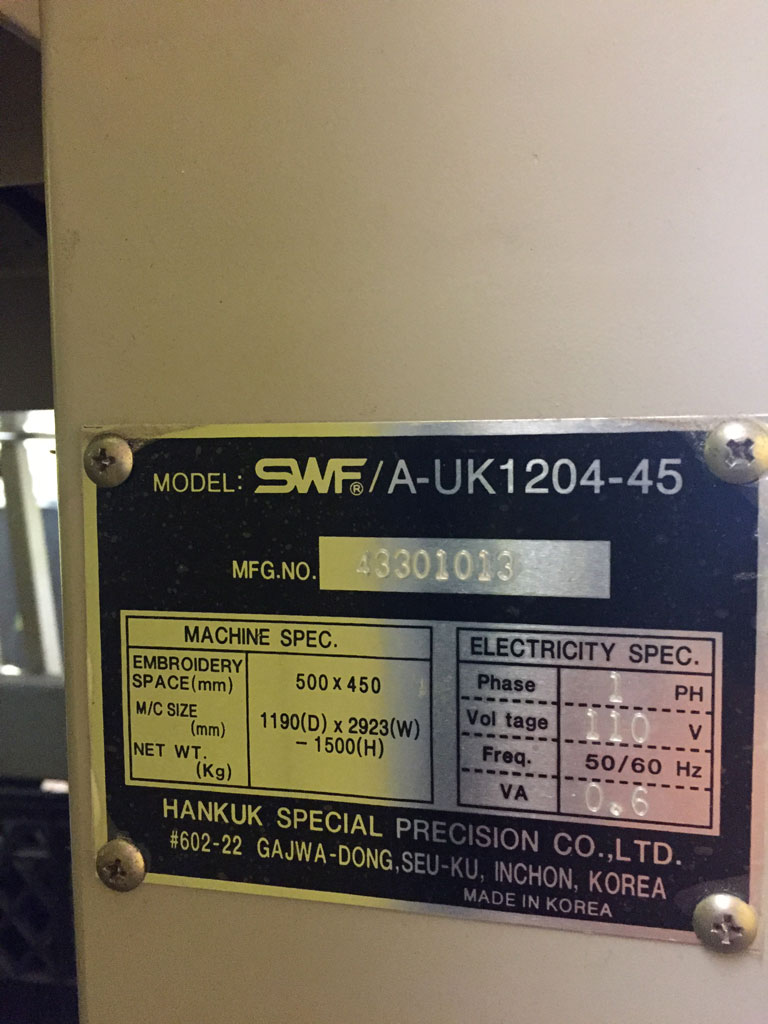 Swf 1204 Commercial 4 Head Embroidery Machine Great Condition