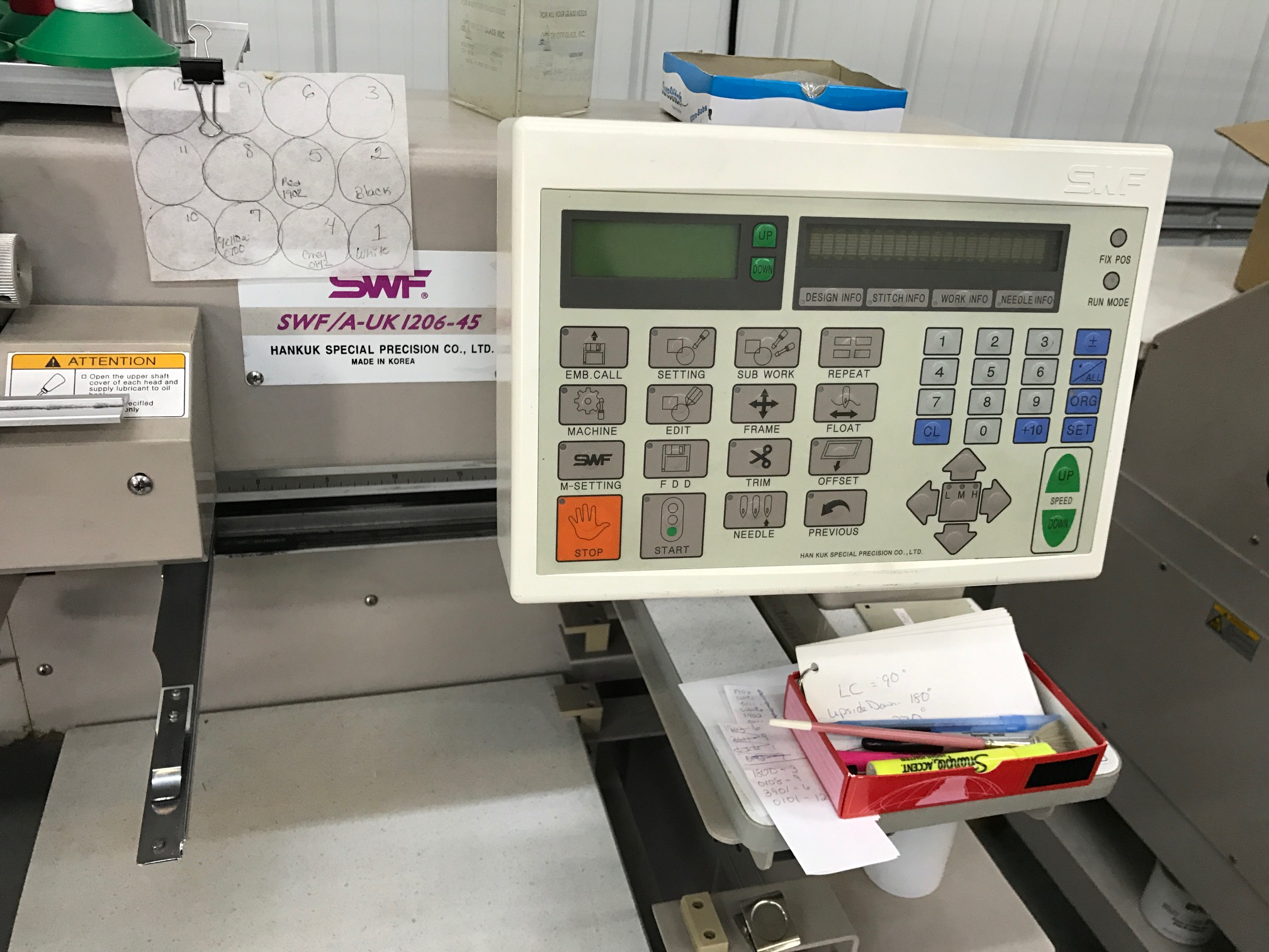 2000 Swf A Uk1206 45 6 Head 12 Needle Embroidery Machine